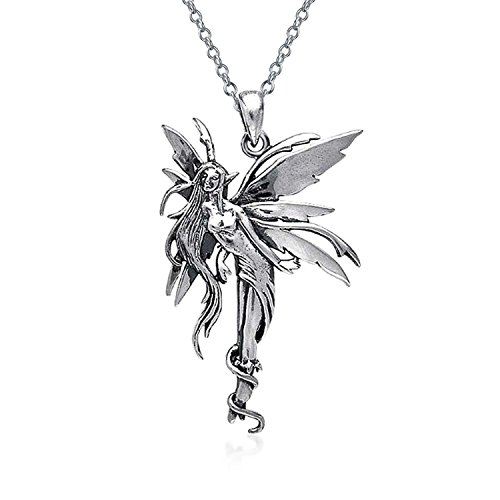 Firefly Fairies Pixie Angel Fairy Pendant Necklace For Women For Teen Oxidized 925 Sterling Silver With Chain