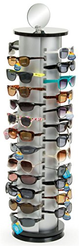 Displays2go Sunglasses Display Rack, Holds 48 Pairs Comes with Double Sided Mirror, Black/Silver Aluminum by Displays2go