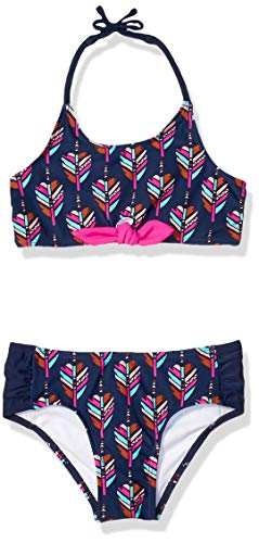 Jessica Simpson Little Girls' 2-Piece Bikini Swimsuit Set, Mixed Print Halter, 5 ()