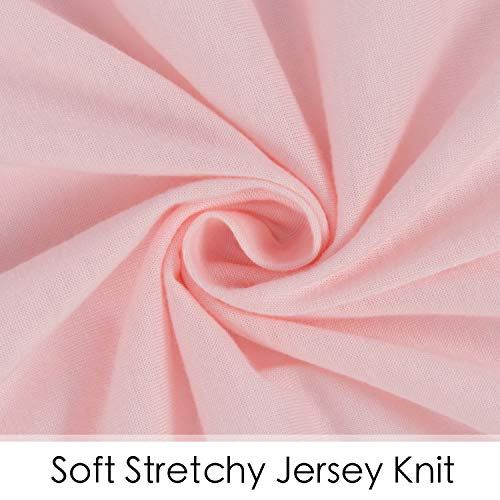 "41vkAJTUGjL - TILLYOU Jersey Knit Ultra Soft Changing Pad Cover Set-Unisex Diaper Change Table Sheets For Baby Girls And Boys-Fit 32""/34'' X 16"" Pad-Comfortable Cozy Cradle Sheets-2 Pack Peachy Pink & Lt Gray"