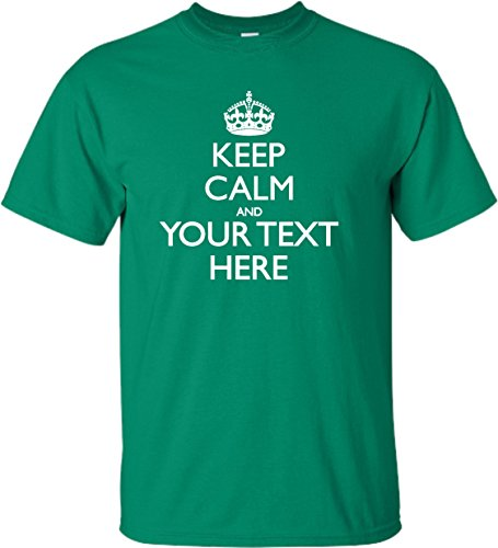 Keep Green (X-Large Kelly Green Adult Personalized Keep Calm and Customizable T-Shirt)