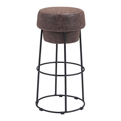 Zuo Modern 100196 Pop Barstool, Distressed Natural, Plush Bottle Cap Shaped Seat, Sturdy Yet Slim Round Black Steel Base, 250 lbs Weight Capacity, Dimensions 16.5