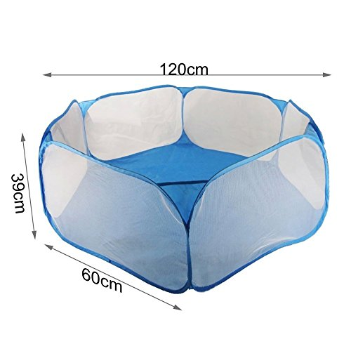 Tepoinn Folding Hexagon Kids Playpen Tent Bobo Ball Pool with Carry Tote Play House for Children Baby Infant Kid Child (Blue)