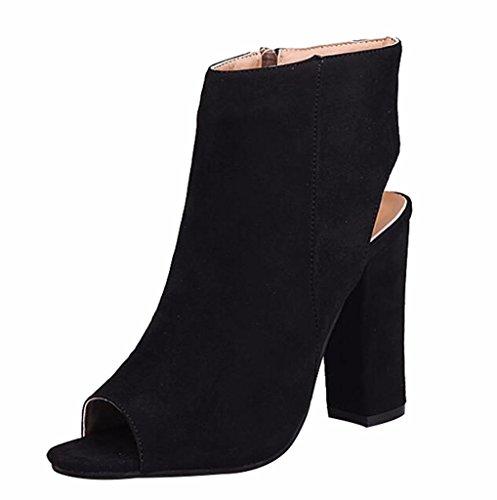 (Women's Cutout Side Zippe Chunky Block High Heel Sandals Boots Peep Toe Platform Pump Shoes Black Velvet Size US8 EU39)
