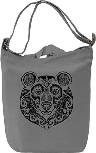 Bear head Borsa Giornaliera Canvas Canvas Day Bag  100% Premium Cotton Canvas  DTG Printing 