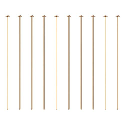 BENECREAT 100PCS 18K Real Gold Plated Flat Head Pins 21 Gauge Satin Pins for DIY Jewelry Making Findings - 45mm (1.8
