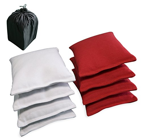 Burgundy Desktop Accessories (AceLife Weather Resistant Cornhole Bags Set of 8 with Recycled Plastic Pellets (California Proposition 65 Approved), Red & White)
