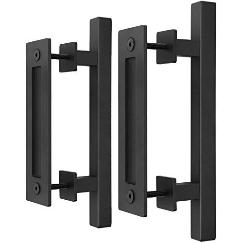 """EaseLife 2Pcs 12"""" Sliding Barn Door Handle with Pull Flush Set,for Gate Kitchen Furniture Cabinet Closet 2/Pack,Square"""
