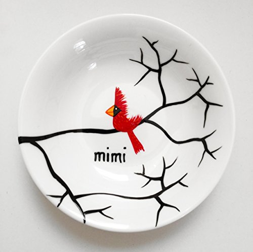 Sympathy Gift, Cardinal Red Bird Ring Dish - Personalized Jewelry Bowl, Red Bird Remembrance Gift by Mary Elizabeth Arts