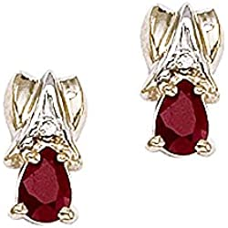14K Yellow/White Gold Diamond Accent and 7/8 ct. Teardrop Shaped Ruby Earrings