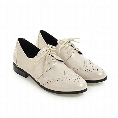 Pied De Charme Femmes Bas Talon Lacets Oxford Chaussures Beige