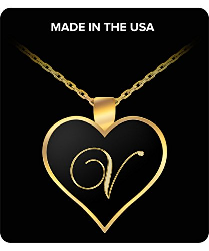 V Initial Necklace - Heart Gold Plated Chain Pendant - Name Charm