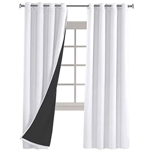 Turquoize White Blackout Curtains Faux Silk Satin for Bedroom 84 inch Length Double Layers with Black Window Curtains/Panels/Drapes - 2 Panels Set - 52 by 84 inch (Color White with Black Liner) ()