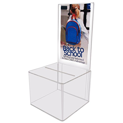 My Charity Boxes - Pack of 2 - Clear Acrylic Display Donation Box - Ballot Box - Ticket Box - Suggestion Box. Inc. AC-18