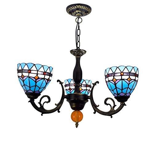 Vintage Tiffany Style Chandelier E26, Stained Glass Shade Pendant Light Bedroom Living Room Decor Lighting Pendant Lamp-3-lights 52x80cm