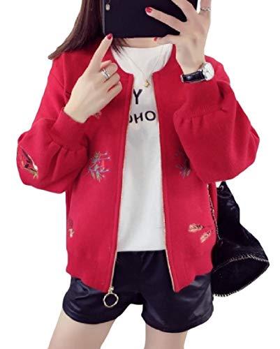 Rossa Zip Lunga Energywomen Ricamata Manica Maglia Giacca Da Baseball Outwear HnEzOx