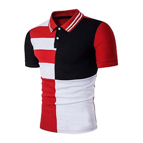 Creazrise Men's Shirts, Men's Slim Sports Short Sleeve Hit Color Polo Shirt T-Shirts (Red, M)