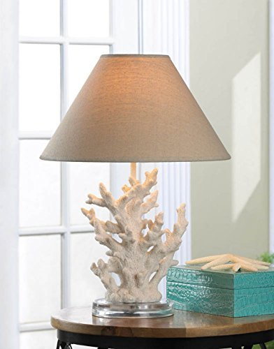 Coastal Christmas Tablescape Décor - Nautical themed white coral tabletop lamp