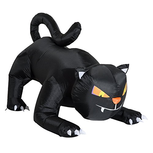 Halloween Black Cat Eyes (HOMCOM 6' Giant Creeping Black Cat LED Light Outdoor Airblown Inflatable Halloween Yard)