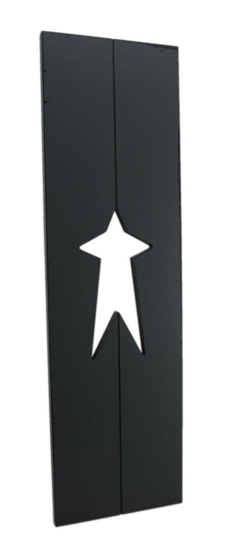 Zeckos 7''X24'' Window Shutter W/Cut Out Grey Wood Wall Sculptures Gray