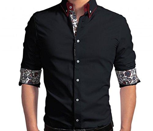 WSLCN Homme chemise commercial Vogue Coton Manches longues Ajustée Non repassage Noir Fr XXL