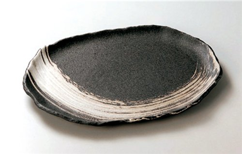 BANKO-YAKI BLACK-CLAZE-BRUSH JIKI Japanese traditional Porcelain Extra- Plate made in JAPAN by Watou.asia