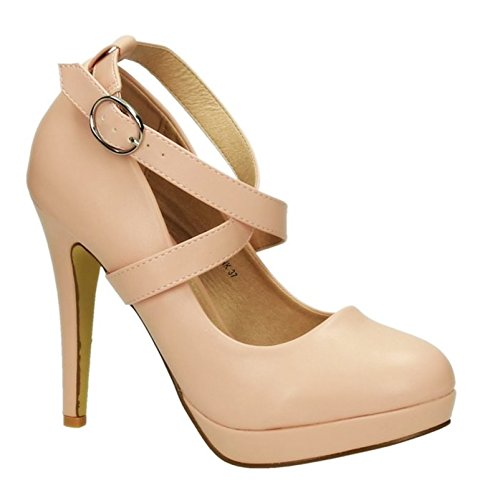 Elegante Damen Riemchen Mary Jane Abendschuhe Pumps Plateau Leder Optik High Heels Stilettos 350 Pink