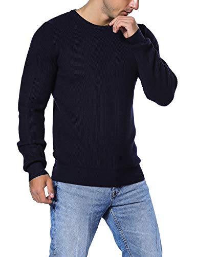 Rocorose Men's Winter Tunic Sweater Crew Neck Knit Ribbed Long Sleeves Navy ()