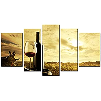 Amazon.com: SmartWallArt - Wine Paintings Wall Art Oak Casks and Red ...