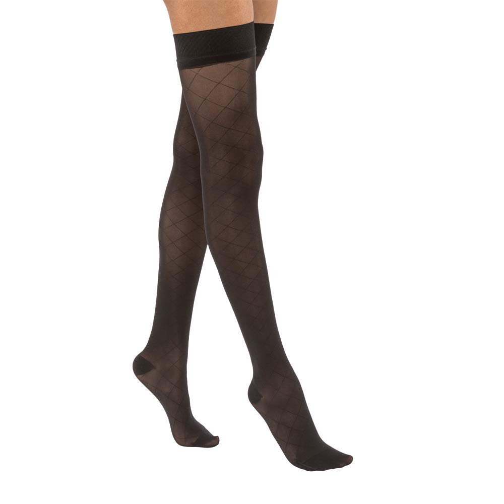 BSN Medical/Jobst 119163 Ultra Sheer Compression Stocking, Thigh High, 15-20 mmHg, Closed Toe, Diamond, Classic Black, Medium, Pair