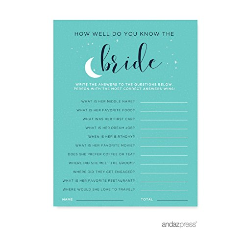 Andaz Press Love You to the Moon and Back Wedding Collection, How Well Do You Know the Bride? Bridal Shower Game Cards, 20-Pack