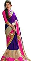 Lajree Designer Faux Georgette Saree With Blouse Piece (_Purple_Free Size)