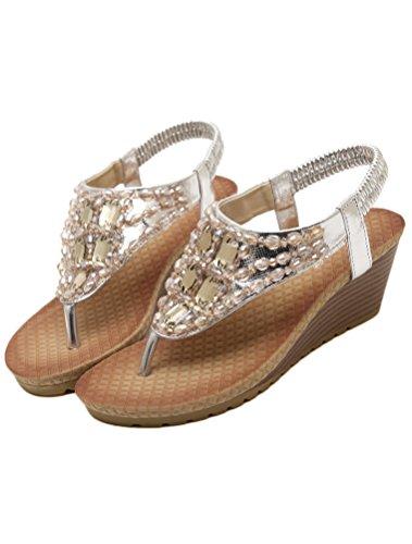 Vogstyle Mujeres Sandalias Verano Estilo Étnico Playa Zapatos Bohemio Sandalias Punta Abierta Deslizadores Verano Boho Chic Zapatillas ZMY002 Estilo 6 Plata