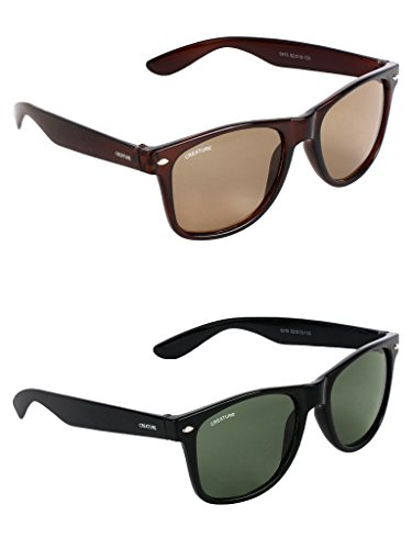 Creature Brown & Green Sunglasses Combo with UV Protection (Lens-Brown & Green||Frame-Brown & Green||SUN-002-003)
