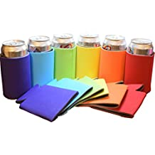 Multi Color Blank Can Coolers Sleeves,Coolies For Cans,Beer,Soft Drink,Economy Bulk,Collapsible Insulator,Perfect for BBQ,Weddings,Parties (12, Purple,Turqiz,Green Lime,Yellow,Orange,Red)
