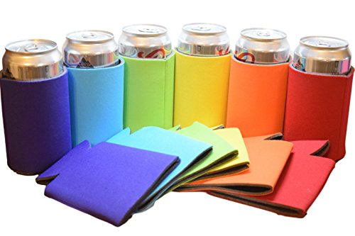 QualityPerfection 12 Blank Can Cooler Sleeve,Keychain For Beer Can Economy Bulk,Collapsible Insulator,Good 4 Wedding,Parties(Purple,Turquoise,Green Lime,Yellow,Orange,Red)