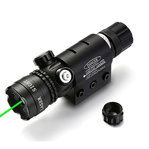 MBMAH Adjustable Green Laser Sight, 532nm Green Beam Shockproof Rifle Scope Sight w/Picatinny Rail & Barrel Mount Cap Pressure Switch Battery Charger Included
