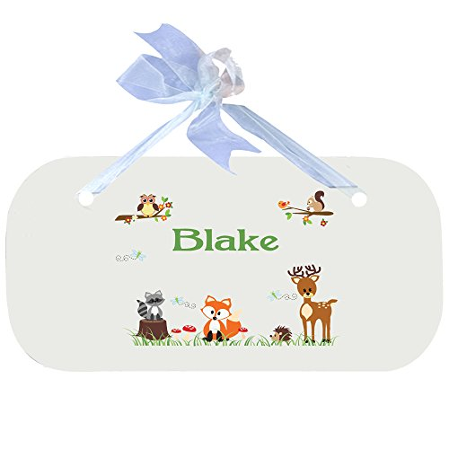 Personalized Green Forest Animal Nursery Door Hanger Plaque with blue ribbon by MyBambino