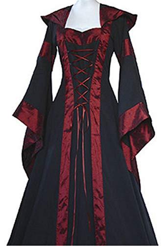 LETSQK Retro Hooded Gothic Medieval Dresses Irish Victorian Halloween Costume Black XL ()