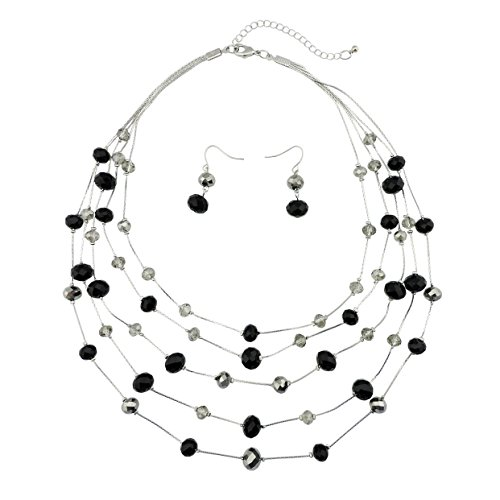 Bocar New Beautiful Fashion 5 Layer Handmade Beads Necklace Earring Set Illusion Necklace for Women (NK-10464-black)