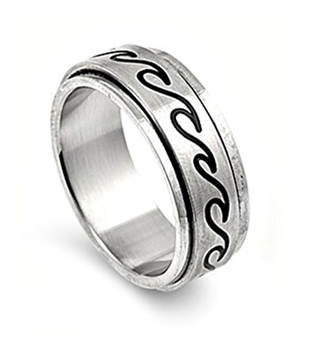 Stainless Steel Ocean Waves Spinner Ring - size12