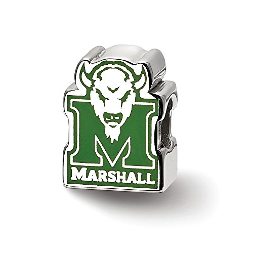 - Sterling Silver LogoArt Marshall University M with Head Enameled Logo Bead, Sterling Silver