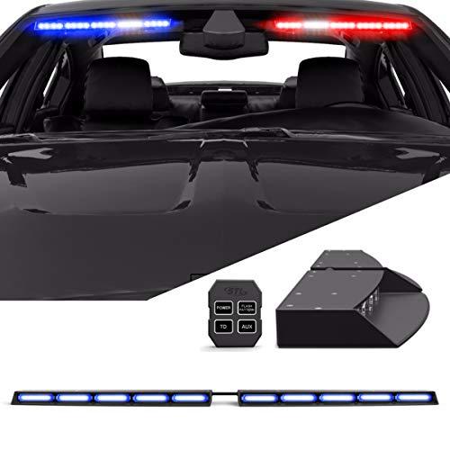 (Raptor TIR Interior Upper Windshield Split LED Visor Light Bar for Emergency Vehicle Warning Visor Lights - Blue/Blue)
