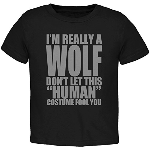 [Halloween Human Wolf Costume Black Toddler T-Shirt - 4T] (Human Wolf Costume)