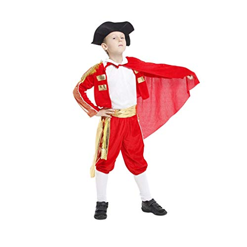 Byx- Boy Dance Costume Halloween COS Masquerade Costume Costume Child Matador Costume Spanish Bullfighting Performance Costume -Dancing unifom (Color : Red, Size : L) -