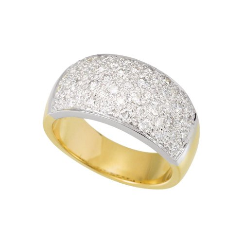 14k White Gold and Yellow Gold Size 7 1 Dwt Polished Two Tone Diamond Ring