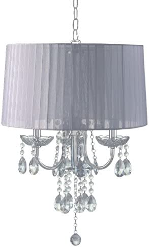 SH Lighting 6733H-WH Crystal Inspired 3-Bulb Hanging Chandelier, 24 H, White Chrome