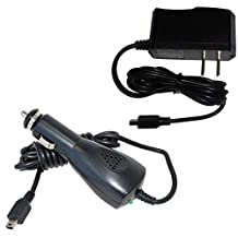 HQRP Kit Car Charger + AC Power Adapter for Garmin n?vi 40 / 40LM / 42 / 42LM / 44 / 44LM / 465LMT / 50 / 500 / 50LM / 52 / 52LM / 54 / 54LM / 55 / 55LM / 55LMT plus HQRP Euro Plug Adapter