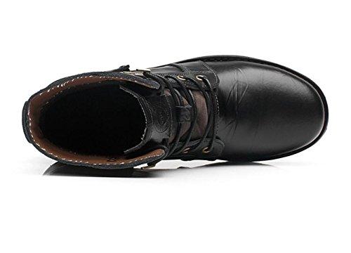 Carrière black LINYI Vintage Britannique Office D'escalade Martin Cuir Hommes Sport En Bottes Véritable qrqP7C