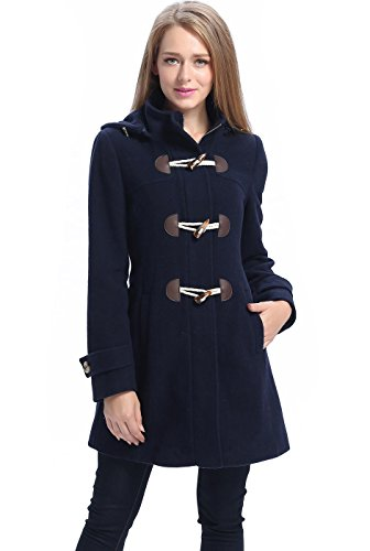 BGSD Women's Daisy Wool Blend Toggle Coat, Navy, Small (Wool Duffle Coat Women)